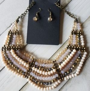 NEUTRAL BEIGE/BROWN NECKLACE SET